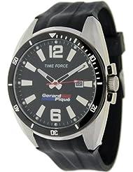 Reloj TIME FORCE de caballero colección GERARD PIQUÉ. Calendario. Acero. Correa de caucho negra. TF-4055M01P