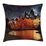 VICKKY Americana Landscape Decor Throw Pillow Cushion Cover, Patagonia Wonders of The World Sunset Trekking Serene Dawn Image, Decorative Square Accent Pillow Case, 18 X 18 inches, Orange Blue