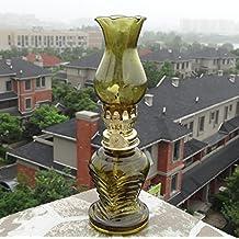 Lámpara de mesa lámpara de escritorio salón dormit Pasado de moda del proceso de cristal lámpara de keroseno lámpara de escritorio de la lámpara de aceite Pequeño granero de la linterna lámpara de mesa lámpara de aceite Retro Nostalgia YANGFF-Lámparas de Escritorio ( Color : Amarillo )