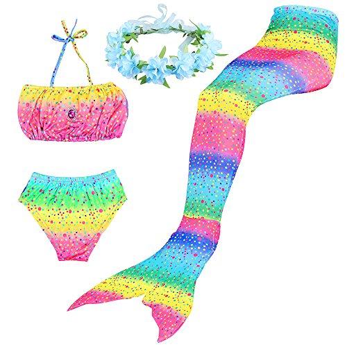 BESTYLING 4PCS Ragazze Sirena Coda Costume da bagno Principessa Bikini con Ghirlanda (140, arcobaleno)