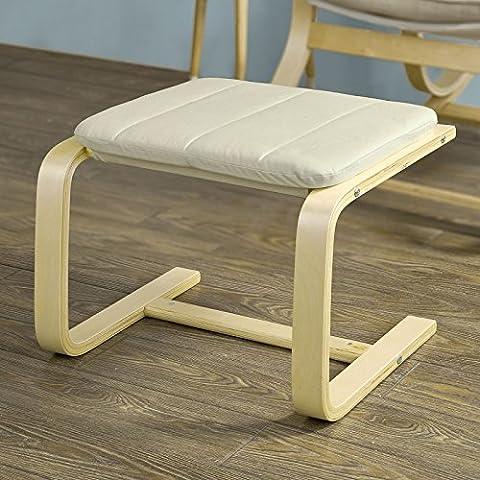 SoBuy® Reposapiés de madera, Beige, FST38-W, ES