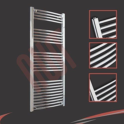 600mm (w) x 1400mm (h) - Radiateur sèche-serviettes incurvé chromé Barre Horizontale Diamètre: 22mm, Bar Modèle: 4 + 5 + 7 + 10