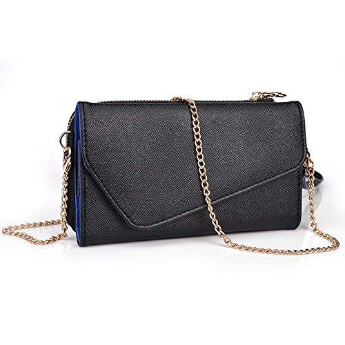 Kroo d'embrayage portefeuille avec dragonne et sangle bandoulière pour Karbonn Titanium X/Octane Multicolore - Noir/gris Multicolore - Black and Blue