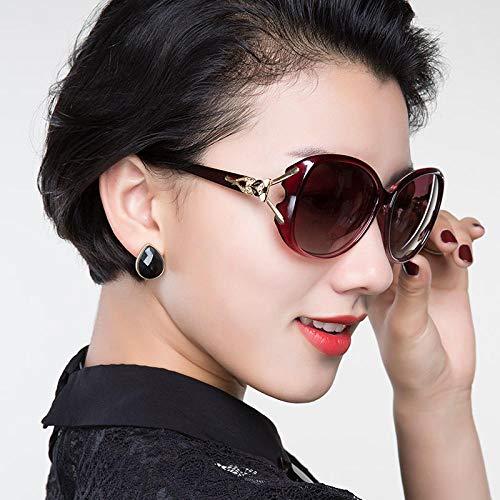 Damen Sonnenbrille Koreanische Version der Flut Brille rundes Gesicht langes Gesicht polarisierte Sonnenbrille weiblichen polarisierten roten Rahmen progressiven roten Film, polarisierten roten Rahme