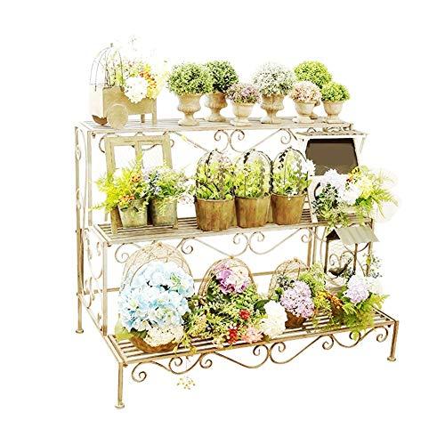 My Yard Vintage Metal 3 Tier Shelf Bücherschrank, Multifunktionale Leiter-förmige Pflanze Blumenständer Rack Bücherregal Aufbewahrungsregale Topflappen für den Außenbereich Ausstellungsstand, weiß -