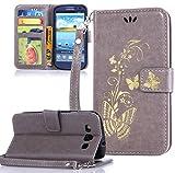 Roreikes Samsung Galaxy S3 / S3 Neo Hülle, Schutzhülle Brieftasche golden Butterfly Blume PU Lederhülle im Bookstyle Handyhülle Tasche Stand Kartenfächer Magnetverschluss für Samsung Galaxy S3