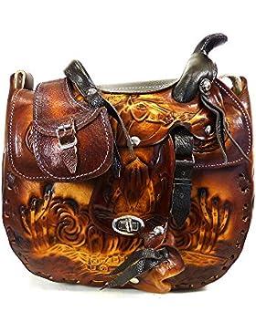 Westernwear-Shop Ledertasche Saddle brown - Damen Westerntasche Sattelhandtasche Cowgirltasche Handtasche aus...