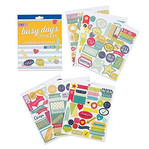 Boxclever Press Busy Days Planersticker, Scrapbook Sticker. 186 Kalender Sticker - Planung & Erinnerungen. Farbenfohe Goldfolie-, Vinyl- und gepolsterte Aufkleber für Planer & Bullet Journals
