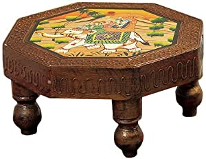 Aapno Rajasthan Octagon Side Table with a Hand Painted Top (30.48 cm x 15.24 cm)