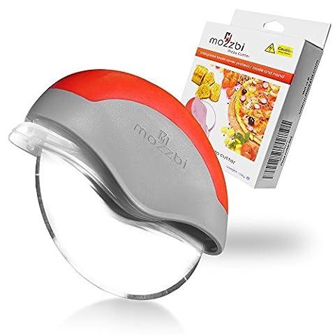 Roulette de découpe Pizza, acier inoxydable avec garde-lame intégrée en bleu, chaux et rouge De