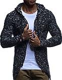 LEIF NELSON Herren Strick-Jacke mit Reißverschluss   Casual Strick-Hoodie Dünn Slim Fit   Moderner Männer Strick-Cardigan Langarm