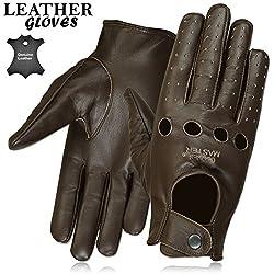 Mens invierno vestido dedo completo de conducción guantes de cuero guantes de piel tres colores negro/marrón/marrón