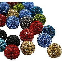 PandaHall 100 pcs Arcilla Bola de disco Perlas, Polímero Arcilla Diamantes de imitacion Cuentas, redondo, cristal