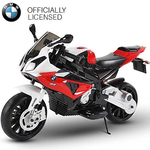 BAKAJI Moto Elettrica per Bambini BMW S1000 RR Rossa 12V con Chiave Accensione Doppia Velocità 2 Motori Ruote EVA Rotelle Licenza Ufficiale BMW
