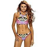 WJS Frauen Weinlese Badeanzüge Bikini Frauen Badeanzug,Multi-color,S