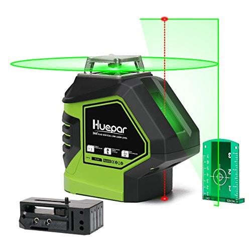 Huepar 621CG Nivel Láser Verde Autonivelante 360° Herramienta Láser de Líneas Cruzadas con 2 Puntos de Plomada Haz Vertical Horizontal 360° con Puntos Arriba Y Abajo Base Giratoria Magnética