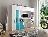 Furnistad | Hochbett für Kinder Delta | Kinderhochbett mit Leiter, Schrank und Schreibtisch (Weiß + Türkis, 90 x 200 cm)