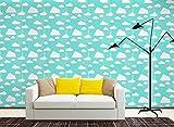 HLMYYO 3D selbstklebende Tapete TV Hintergrund selbstklebende Tapete PVC wasserdicht klebrige Schlafzimmer Wohnzimmer Kaufen Sie drei eins kostenlos (Color : Green clouds)