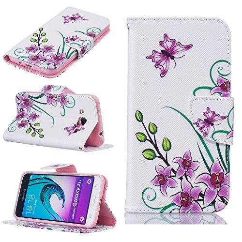 BoxTii® - Custodia a portafoglio in pelle + pellicola protezione schermo in vetro temperato, con cover posteriore, per Apple iPhone 6/6S, modello floreale con cinturino da polso e scomparti per carte #2 Butterfly