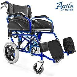 AIESI Silla de Ruedas plegable Ultra-ligera de aluminio con freno para discapacitados y mayores AGILA TRANSIT ✔ Doble sistema de frenado ✔ Cinturon de seguridad ✔ Garantía de 24 meses