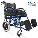 AIESI Fauteuil roulant pliable super-léger en aluminium avec frein pour les handicapés et les personnes âgées AGILA TRANSIT  Double système de freinage  Ceinture de sécurité  Garantie 24 mois