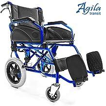 AIESI Silla de Ruedas plegable Ultra-ligera de aluminio con freno para discapacitados y mayores