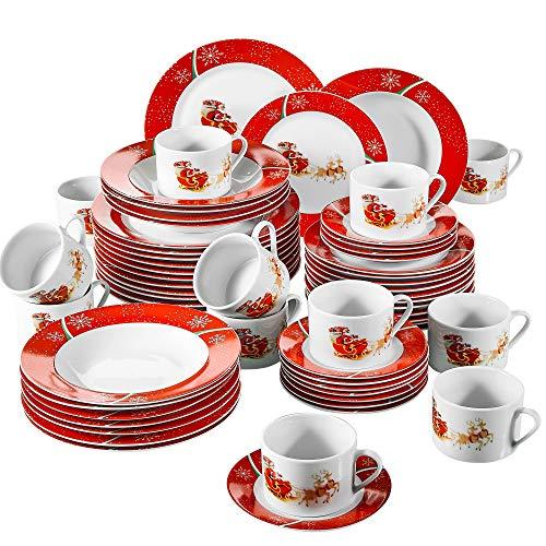 VEWEET, Serie CHRISTMASDEER, Porzellan Tafelservice, 60 TLG. Kaffeeservice für 12 Personen, mit...