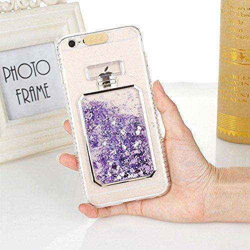 UMCCC Mobile Shell Mode Luxus Bling Star Dynamischer Flüssiger Schleifpapier-Telefon-Kasten iPhone X LED-Blitz-Mädchen-Telefon-Kasten,Purple (Telefon-kasten Iphone 6 Nike)