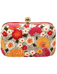 PARIZAAT BY SHADAB KHAN Women's Red Flower Print Clutch (Red,Bxflw12)