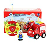 LmqhGzuqume Camion de Pompiers de Dessin animé de télécommande 2 canaux Musique et lumière et Jouet sonore (Rouge)