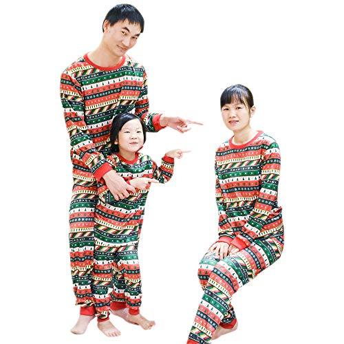 hsene Unisex Weihnachten Pyjama Sets - Passende Familie Weihnachten Pyjamas Weihnachtsbäume Schneeflocke Nachtwäsche, Grün-Tag XL ()