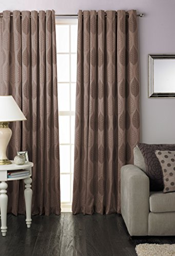 Riva Home Dalby Mocha Ring Top Curtains-229cm x 229cm Ring Moc