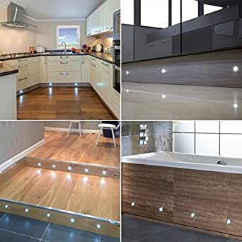Lot de 10, 30 LED pour terrasse/Deck/socle lumineuse (lumière en acier inoxydable de grande qualité, idéal pour la cuisine plinths, Patio, les escaliers, etc)