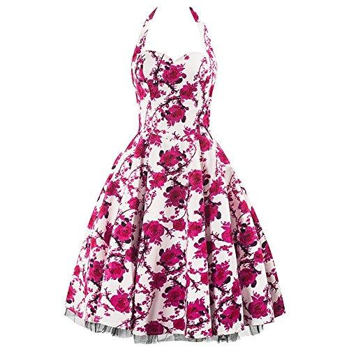 Pretty Kitty Fashion 50s Weiß Rosa Blume Neckholder Cocktail Kleid (4XL - 48, Weiß)