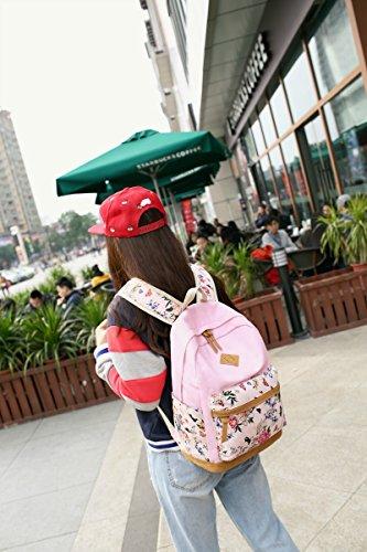 Fashion Mädchen Schulrucksack Damen Canvas Rucksack Teenager Baumwollstoff Schultasche Outdoor Freizeit Daypacks mit Schicker Lace Rosa