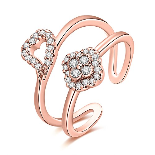 Thumby Copper Rose Gold Plated 2.8g Trendy Double Line Crooked Heart Diamond Opening Ring for (Amor Mädchen Kostüm)