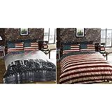 Funda de Edredon Individual Reversible con Estampado de Nueva York y Bandera USA, con Funda de Almohada
