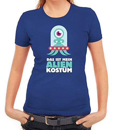 Fasching Karneval Damen T-Shirt mit Das ist mein Alien Kostüm 1 Motiv von ShirtStreet Royal Blau