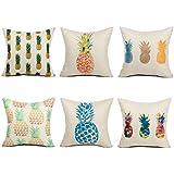 Top finel lino manta fundas de almohada de cojín cuadrado de algodón almohada decorativa para camas sofás sillas conjunto de 6, 18x 18inch, serie piña