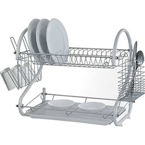 2 Tier Chrome Plate Dish Cutlery Cup Drainer Rack Drip Tray Plates Holder New (White)