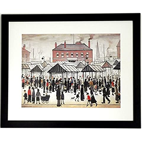 L S Lowry specialità Stampa/Picture–Scena di mercato–su una struttura in lino, misura media, Black Frame With Soft White Mount And Large Image, 20 x 16inch