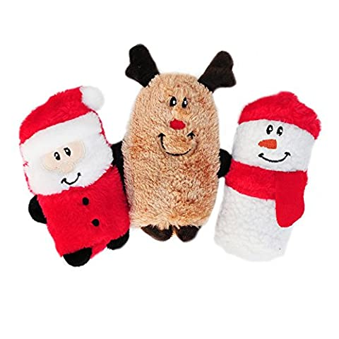 ZippyPaws Holiday Squeakie Buddies Squeaky No Stuffing Plush Dog Toy, by ZippyPaws