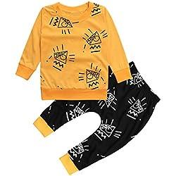 Ropa Bebe otoño-invierno,SMARTLADY Recién nacido Niño Casual Amarillo Camisas de manga larga Y Negro Pantalones,0-24 meses Bebé Ropa (0-6 meses, Amarillo)