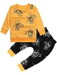 Ropa Bebe otoño-invierno,SMARTLADY Recién nacido Niño Casual Amarillo Camisas de manga larga Y Negro Pantalones,0-24 meses Bebé Ropa
