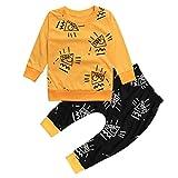 Ropa Bebe otoño-invierno,SMARTLADY Recién nacido Niño Casual Amarillo Camisas de manga larga Y Negro Pantalones,0-24 meses Bebé Ropa (12-18 meses, Amarillo)
