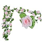 Künstlich Rose Blatt Efeu Girlande Blumen Dekoration (Hell Rosa)