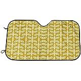 BI HomeDecor Car Sunshade,Abejas Golden Yellow Blockprinted Linograbado Bee Giftwr Funcional Vehículo Parabrisas Delantero Sombrillas para SUV Camión Vehículo Automotriz 76...