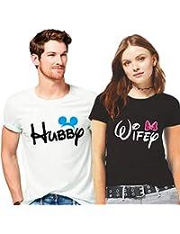 923381ab9a Hangout Hub Couple Tshirts Hubby Wifey Printed Men (White) Women (Black)  Matching