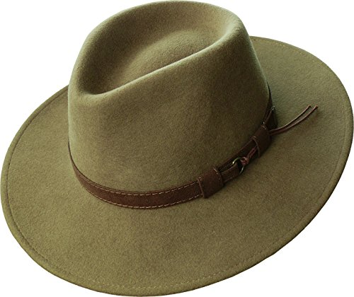 Rollbarer Hut mit Breiter Krempe Braunes Stoffband in 3 Farben!, Farben:Camel, Kopfgröße:61 (Wolle Hut Krempe Herren Breite)