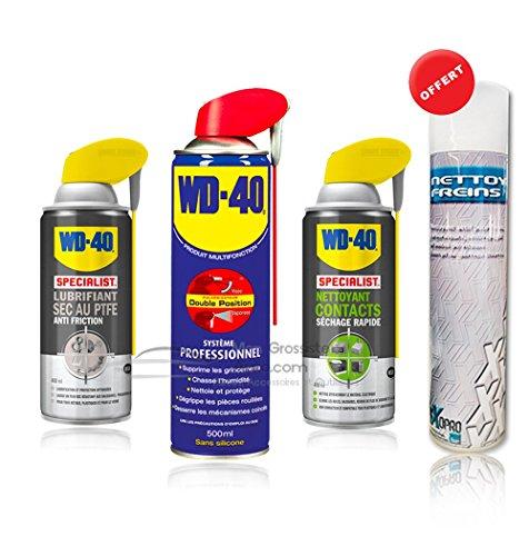Pack WD40 Nettoyant contacts + Lubrifiant sec au PTFE + WD40 Multifonction 500ml + Dégraissant mécanique Offert